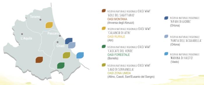 Una cartina dell'Abruzzo con indicate le aree protette dello Iaap