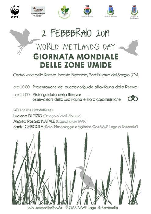 Locandina della Giornata Mondiale delle zone umide, ore 10 presentazione del quaderno/guida avifauna e alle 11 visita guidata alla riserva