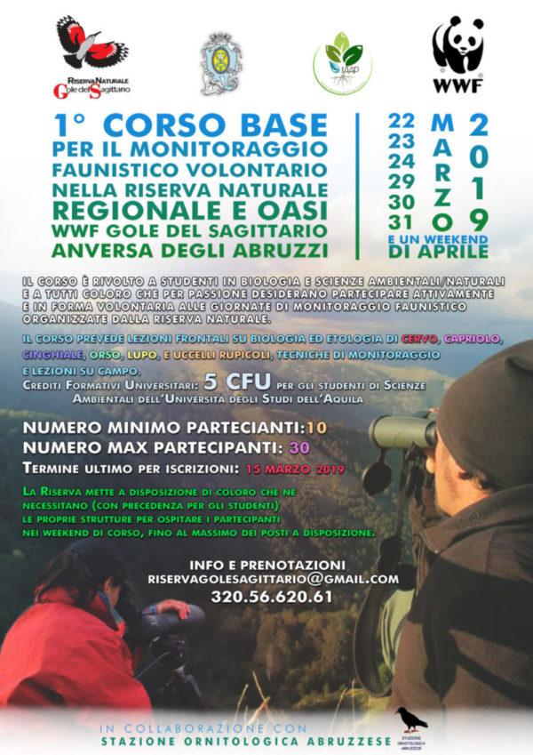 Locandina del primo corso base per il monitoraggio faunistico volontario nella riserva naturale regionale e oasi wwf gole del sagittario che si terrà dal 22 al 31 marzo 2019
