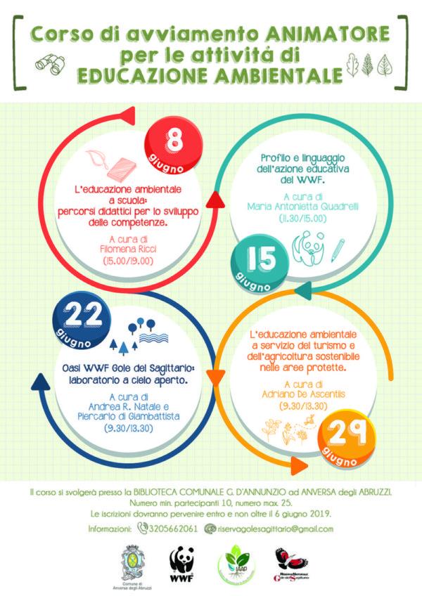 Locandina del corso per educatore ambientale che si terrà l'8, il 15, il 22 e il 29 giugno. Per info chiama il 3205662061